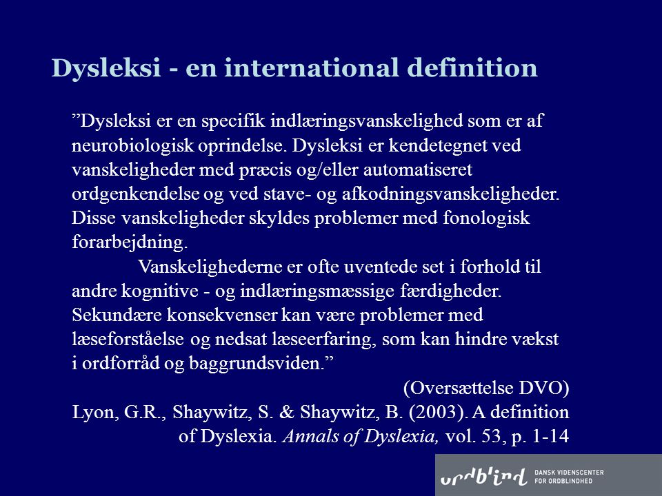 Dysleksi - en international definition