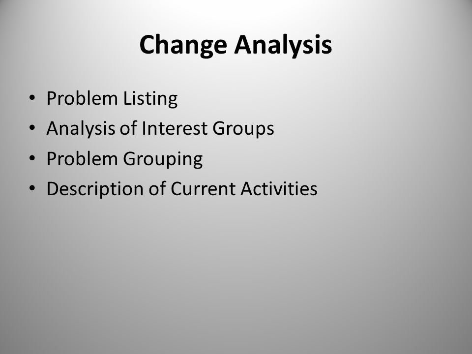 Change Analysis Problem Listing Analysis of Interest Groups
