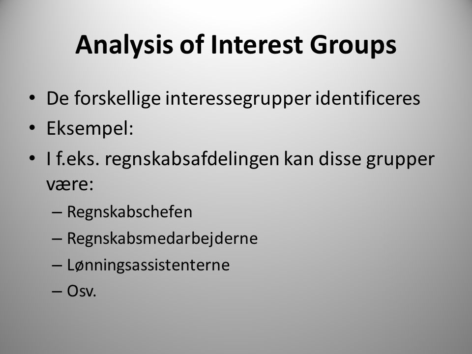 Analysis of Interest Groups