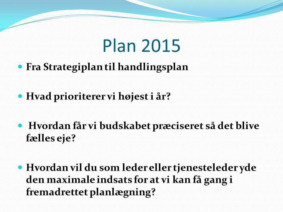 Plan 2015 Fra Strategiplan til handlingsplan