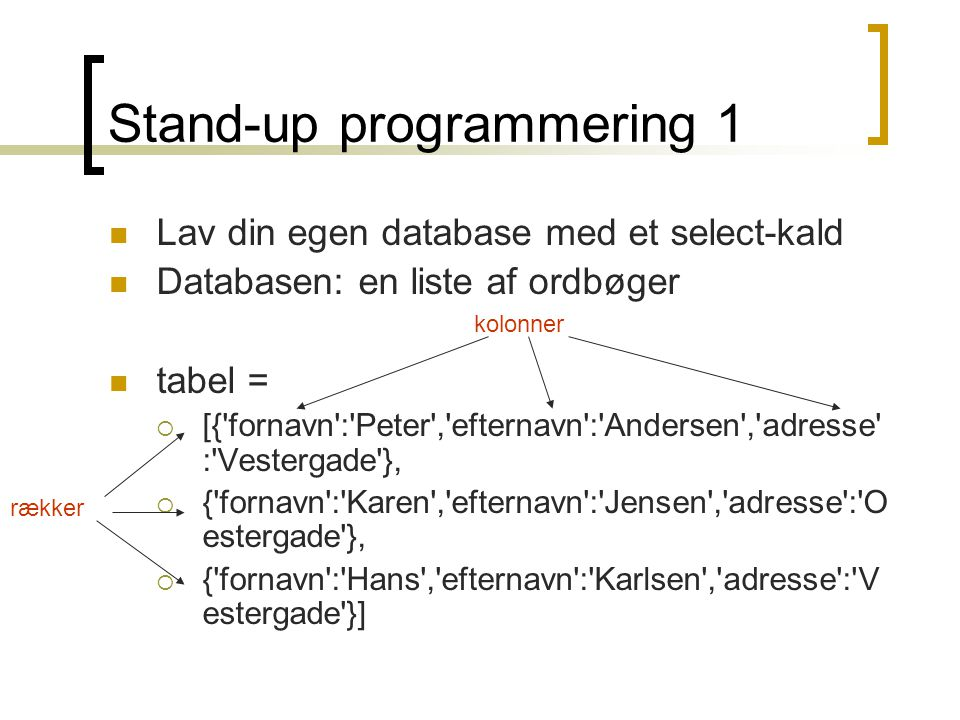 Stand-up programmering 1