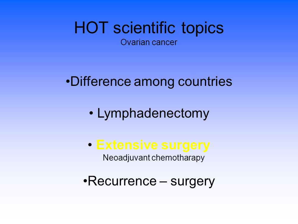 HOT scientific topics Difference among countries Lymphadenectomy