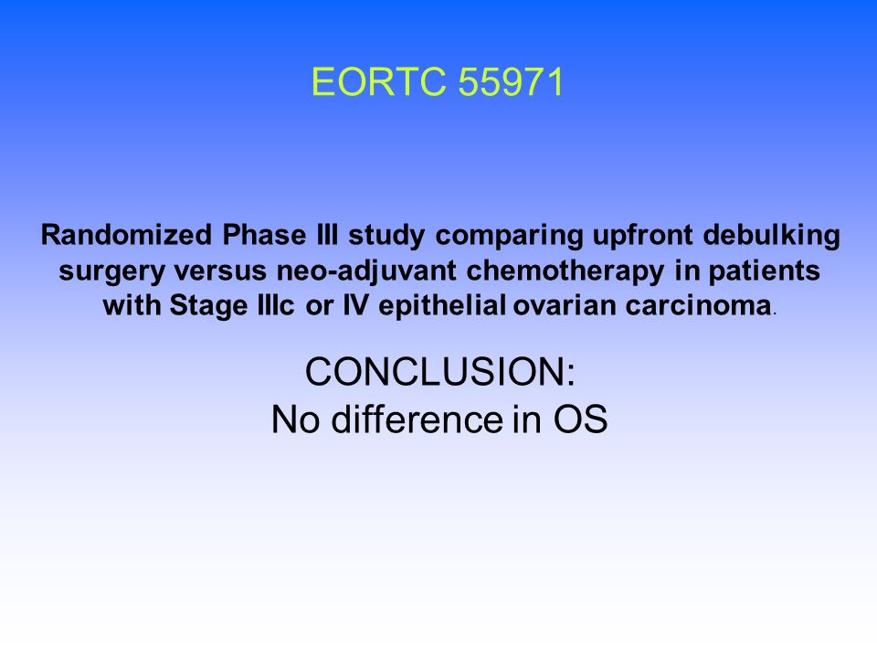 EORTC 55971 CONCLUSION: No difference in OS
