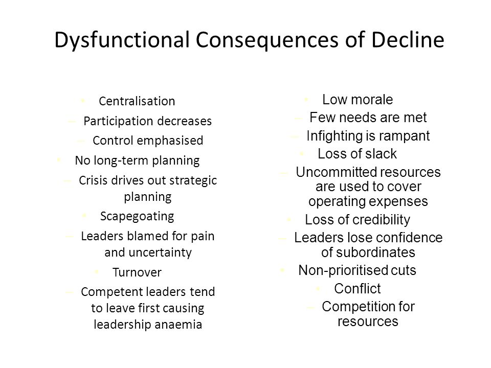 Dysfunctional Consequences of Decline