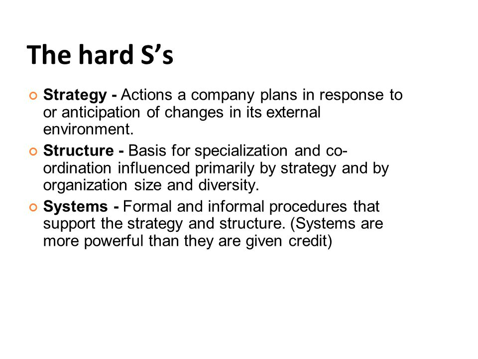 The hard S's Strategy - Actions a company plans in response to or anticipation of changes in its external environment.