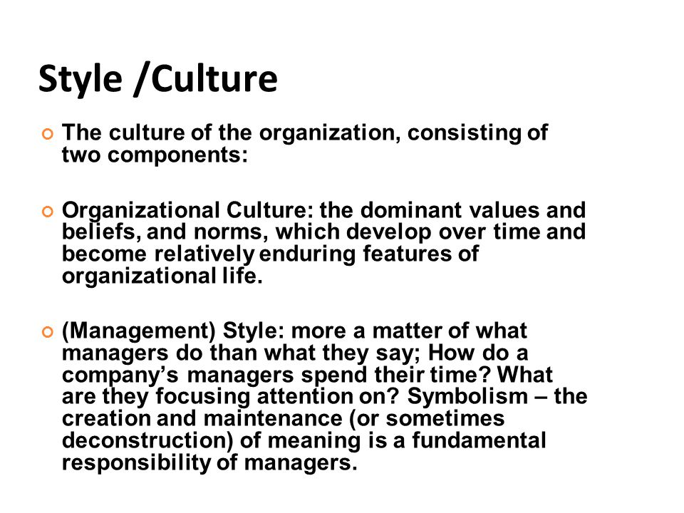 Style /Culture The culture of the organization, consisting of two components: