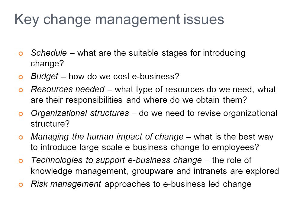 Key change management issues