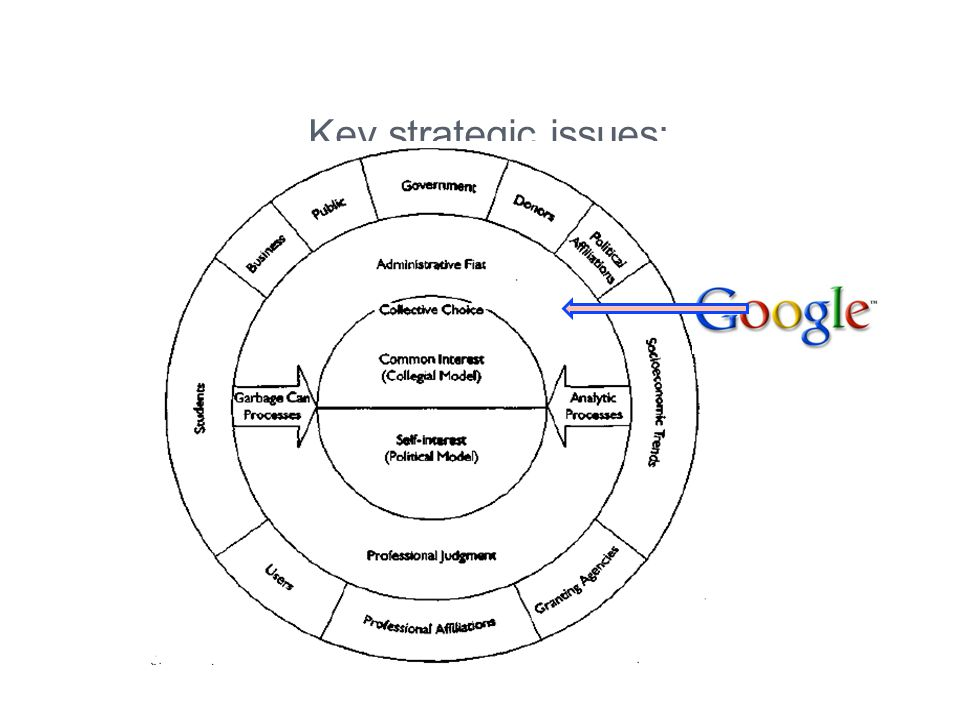 Key strategic issues: -Circle: factors that can create strategic issues.