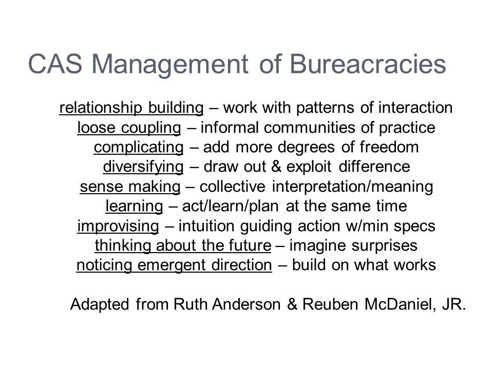 CAS Management of Bureacracies