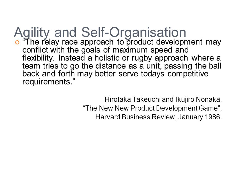 Agility and Self-Organisation