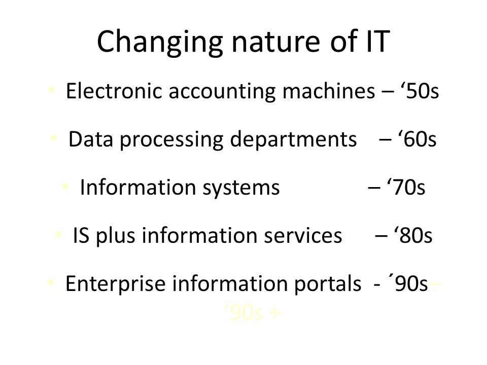 Changing nature of IT Electronic accounting machines – '50s