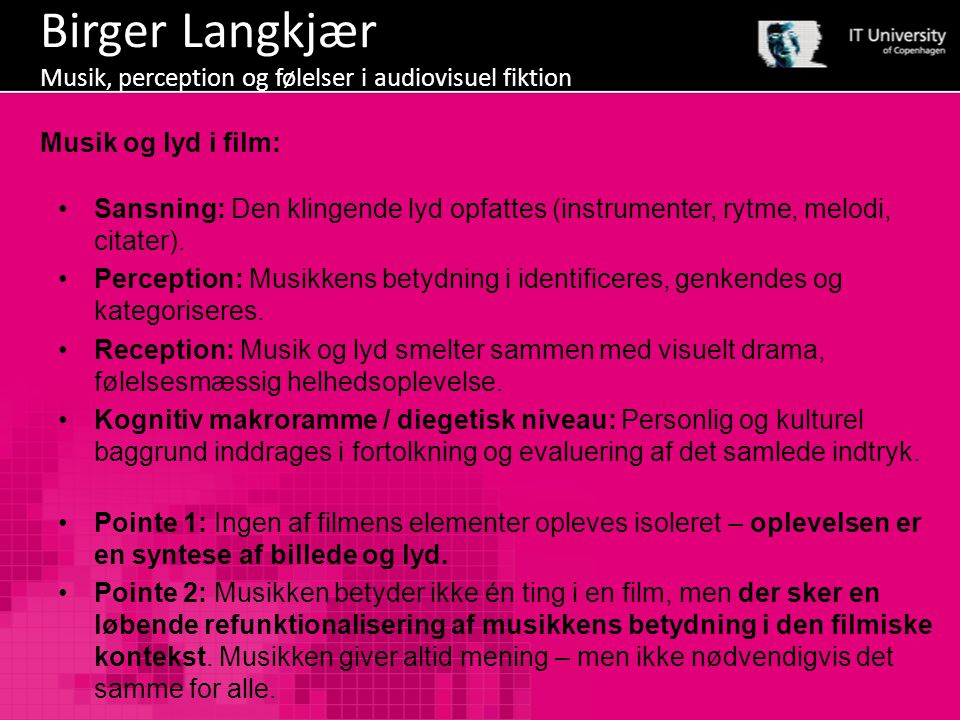 Birger Langkjær Musik, perception og følelser i audiovisuel fiktion