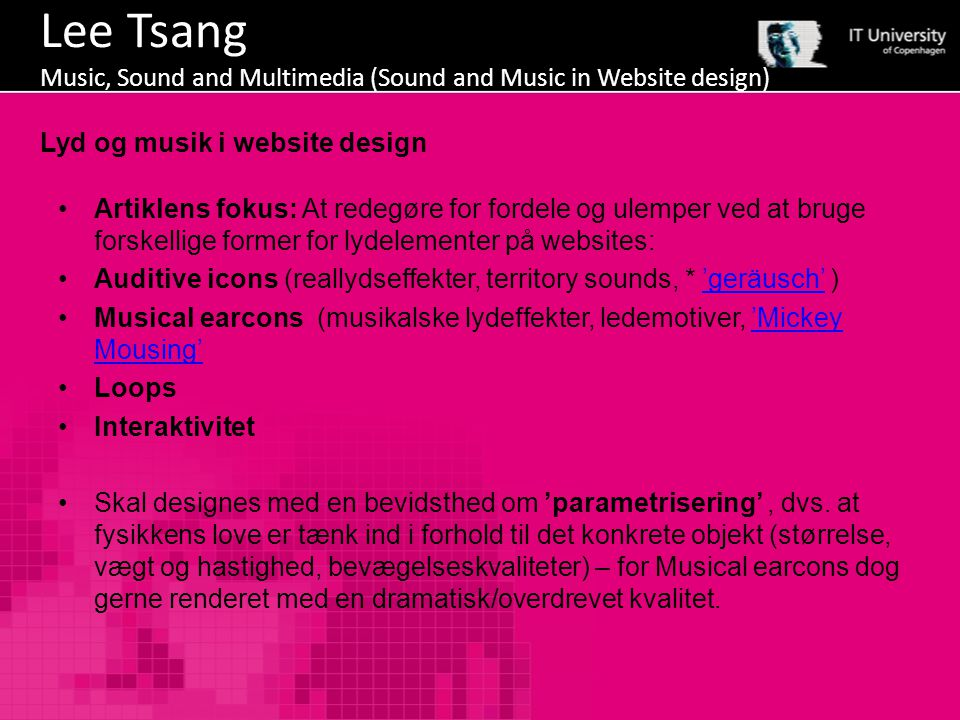 Lee Tsang Music, Sound and Multimedia (Sound and Music in Website design)