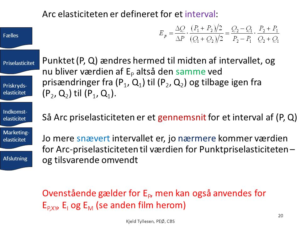 Arc elasticiteten er defineret for et interval: