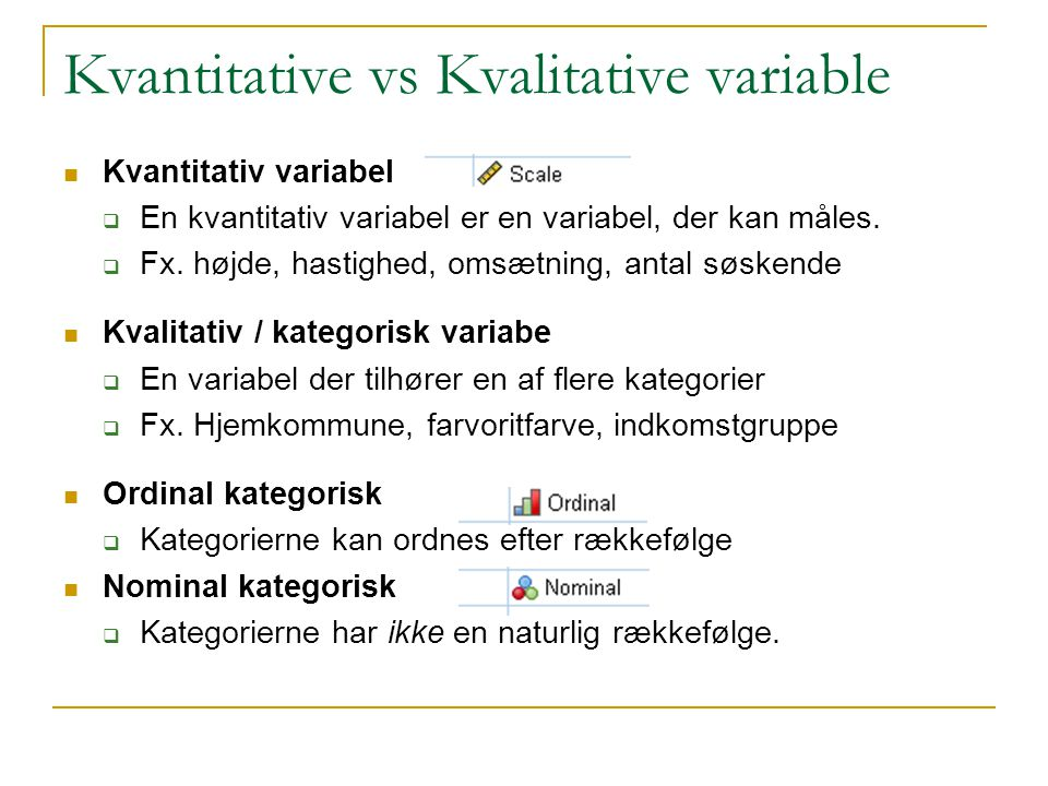 Kvantitative vs Kvalitative variable