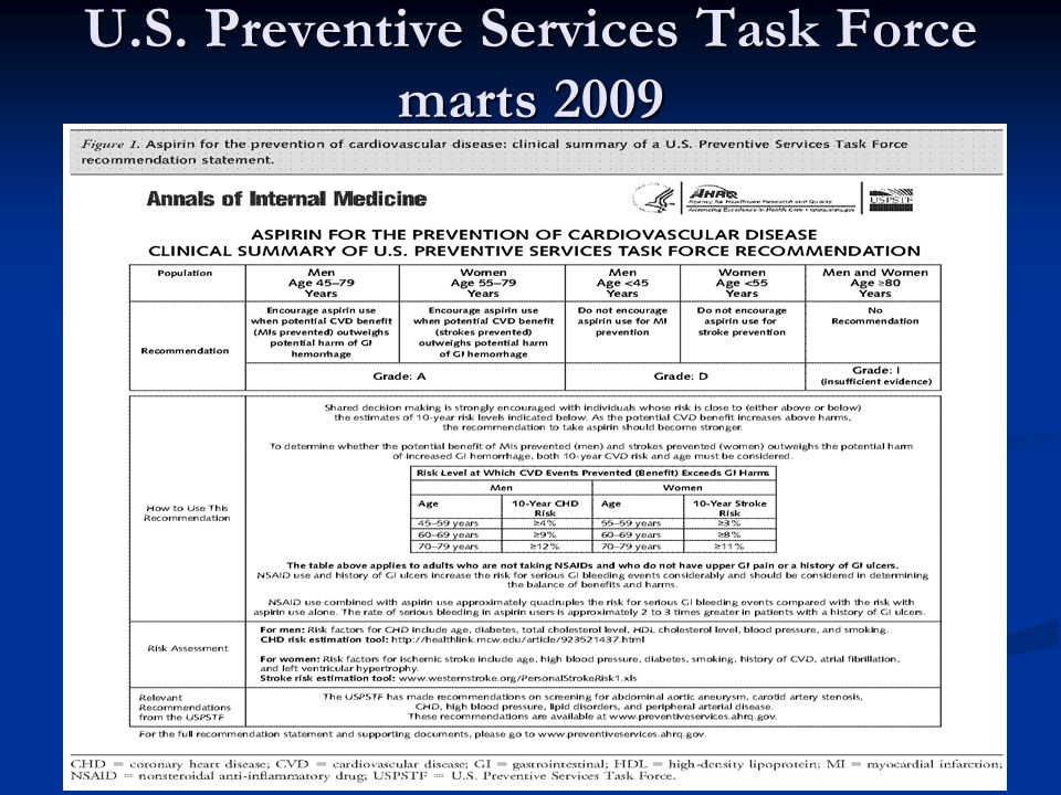 U.S. Preventive Services Task Force marts 2009