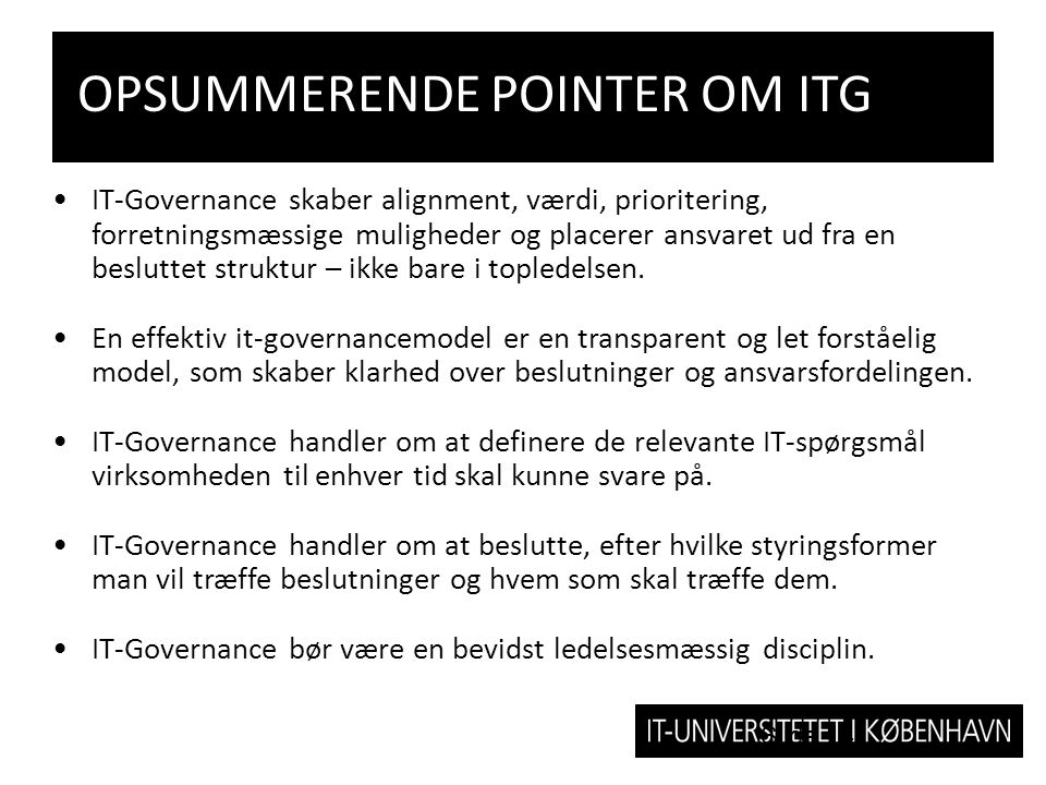 OPSUMMERENDE POINTER OM ITG