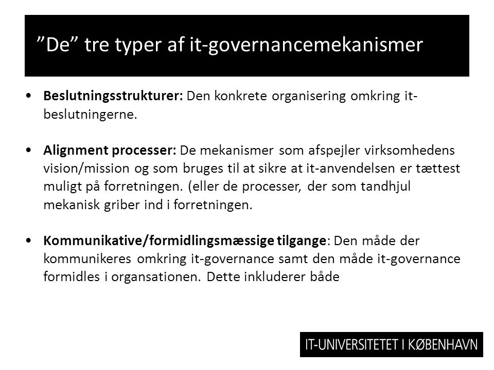 De tre typer af it-governancemekanismer