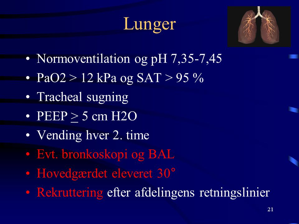 Lunger Normoventilation og pH 7,35-7,45