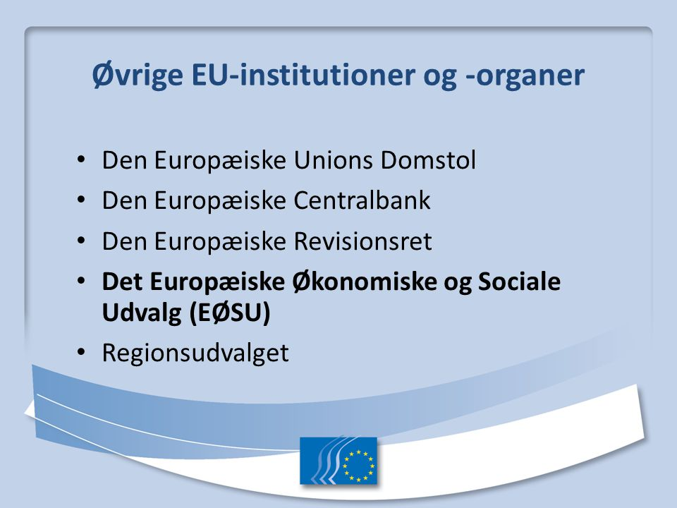 Øvrige EU-institutioner og -organer