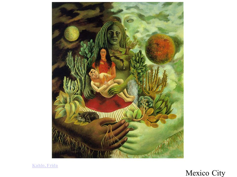 Kahlo, Frida: The Love Embrace of the Universe, the Earth (Mexico), Me, and Senor Xolotl (1949).