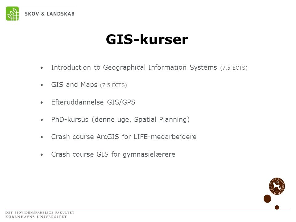 GIS-kurser Introduction to Geographical Information Systems (7.5 ECTS)