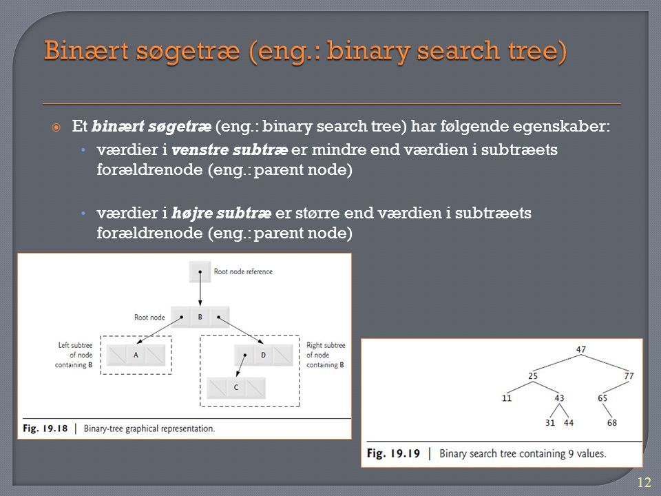 Binært søgetræ (eng.: binary search tree)