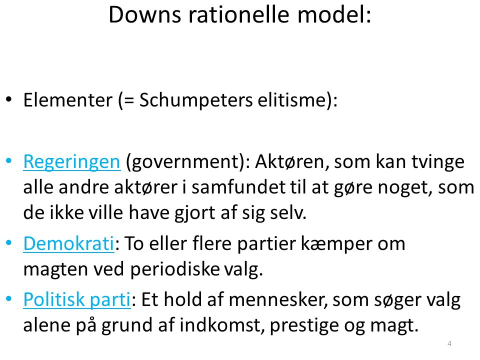 Downs rationelle model: