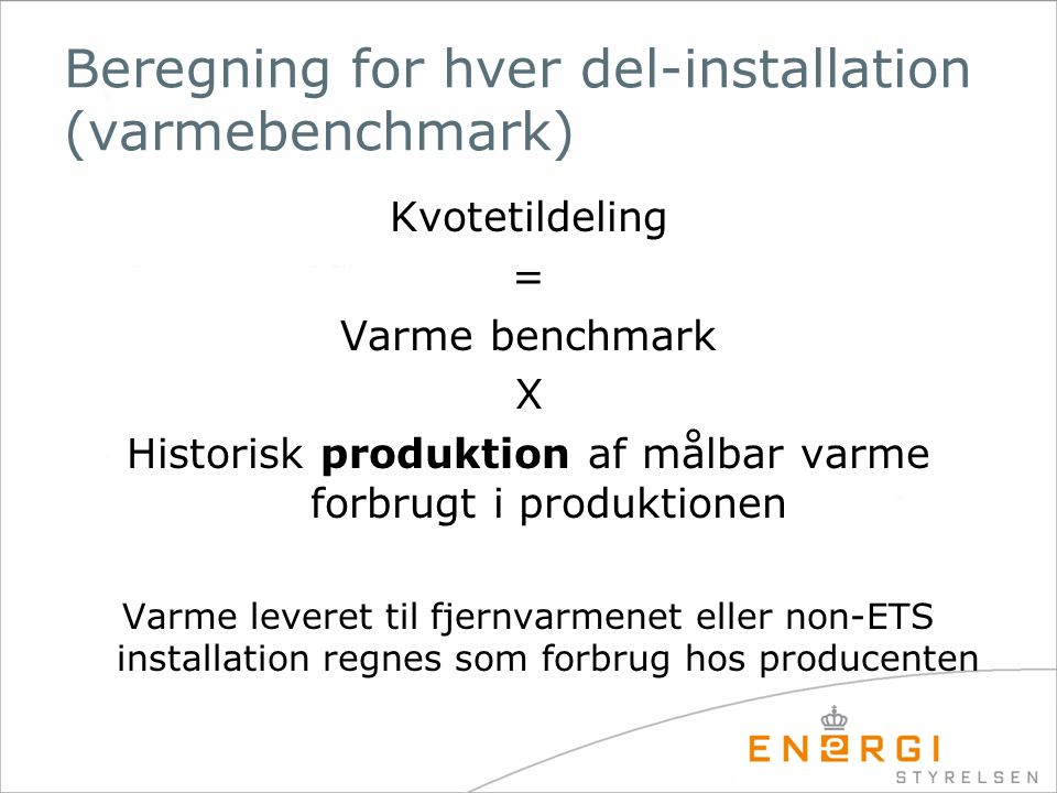 Beregning for hver del-installation (varmebenchmark)