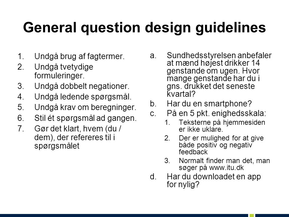 General question design guidelines