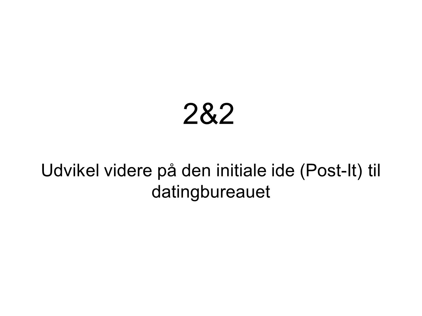 Udvikel videre på den initiale ide (Post-It) til datingbureauet