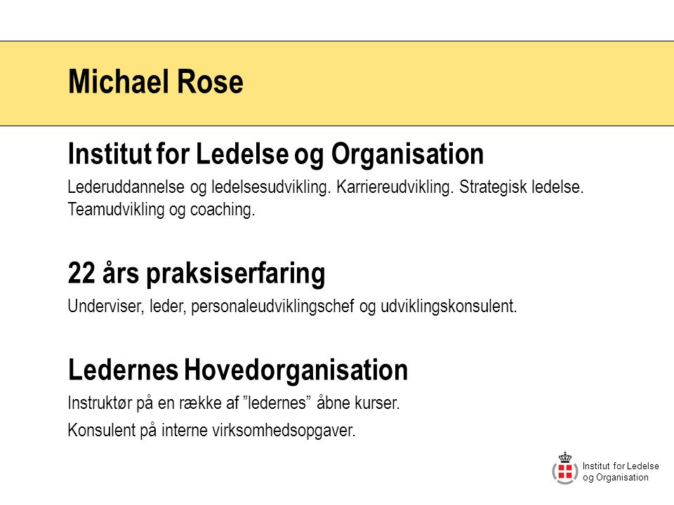 Michael Rose Institut for Ledelse og Organisation