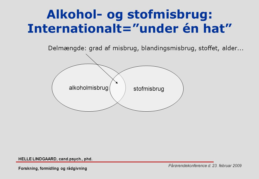 Alkohol- og stofmisbrug: Internationalt= under én hat