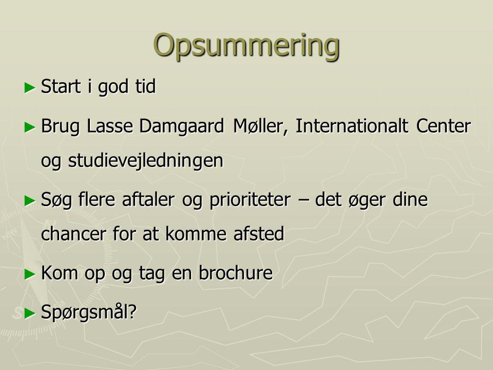 Opsummering Start i god tid