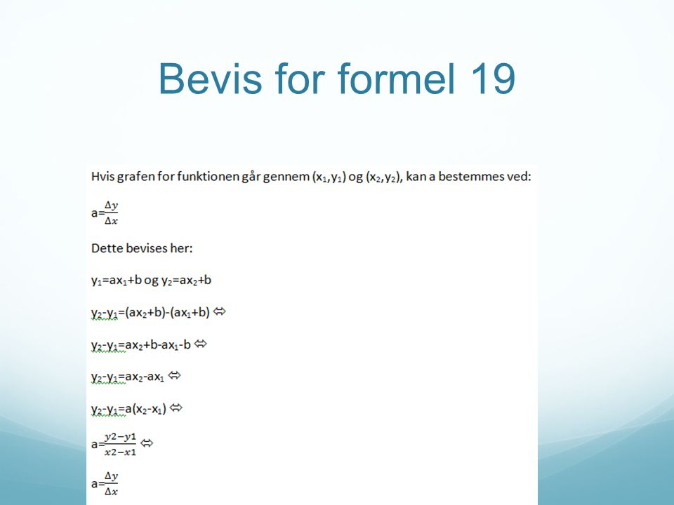 Bevis for formel 19