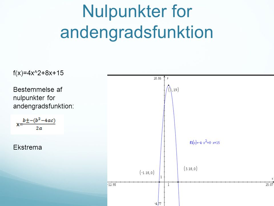 Nulpunkter for andengradsfunktion