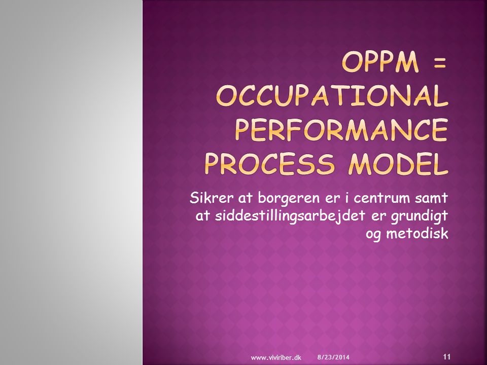 Oppm = Occupational performance process model