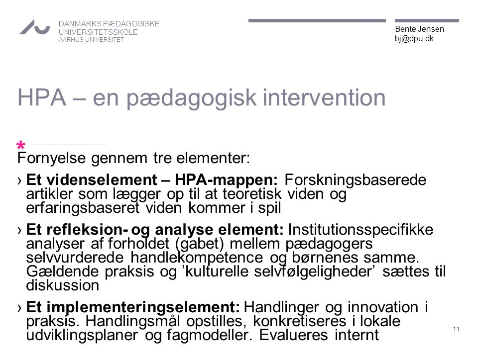 HPA – en pædagogisk intervention