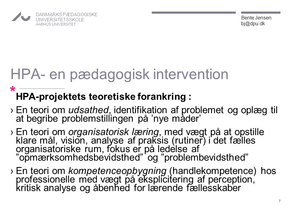 HPA- en pædagogisk intervention