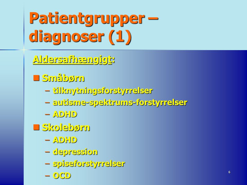 Patientgrupper – diagnoser (1)