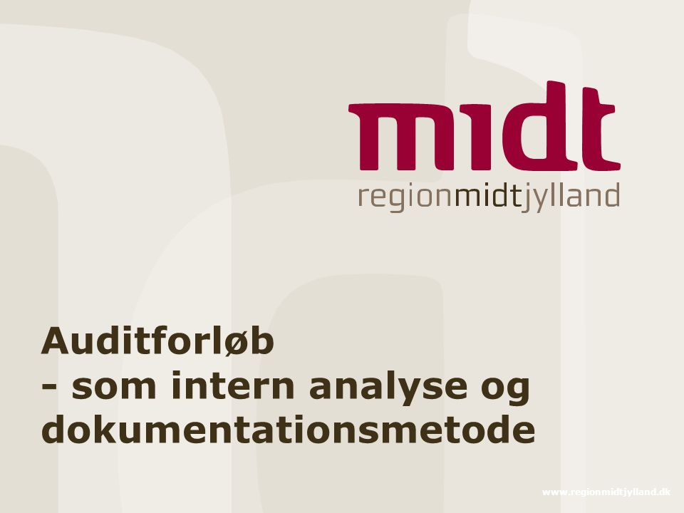 Auditforløb - som intern analyse og dokumentationsmetode