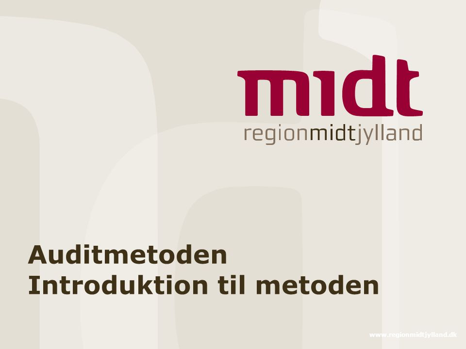 Auditmetoden Introduktion til metoden