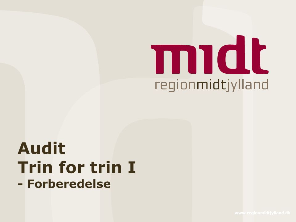 Audit Trin for trin I - Forberedelse