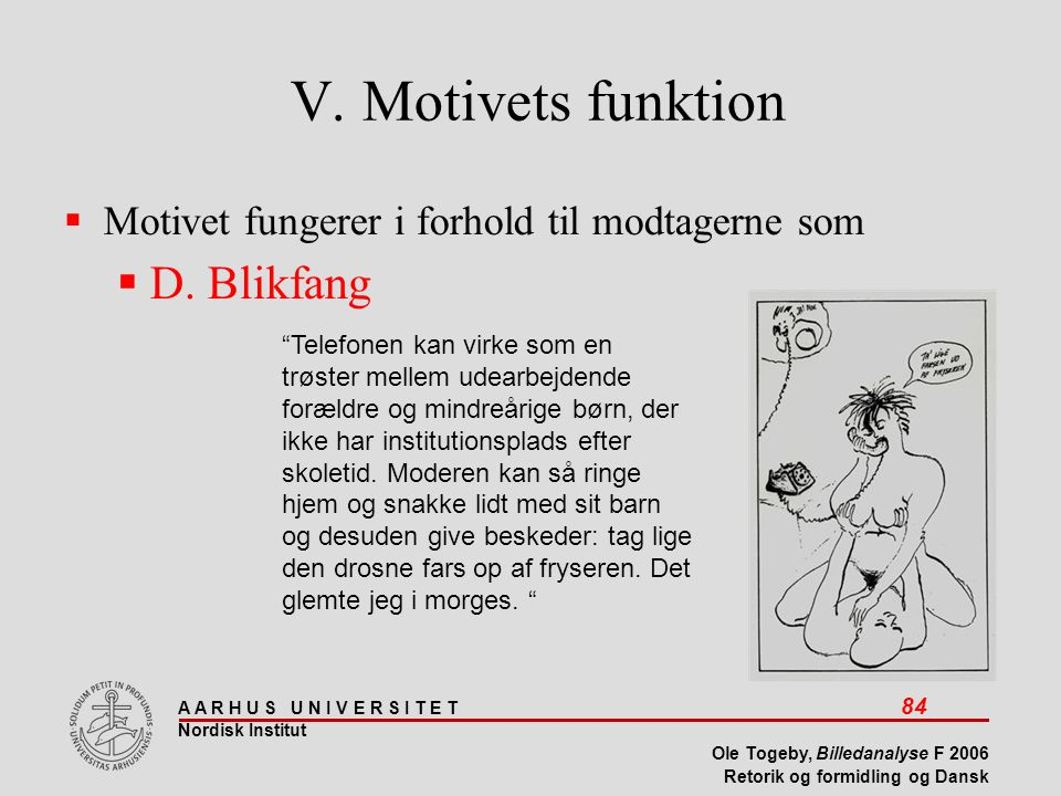V. Motivets funktion D. Blikfang