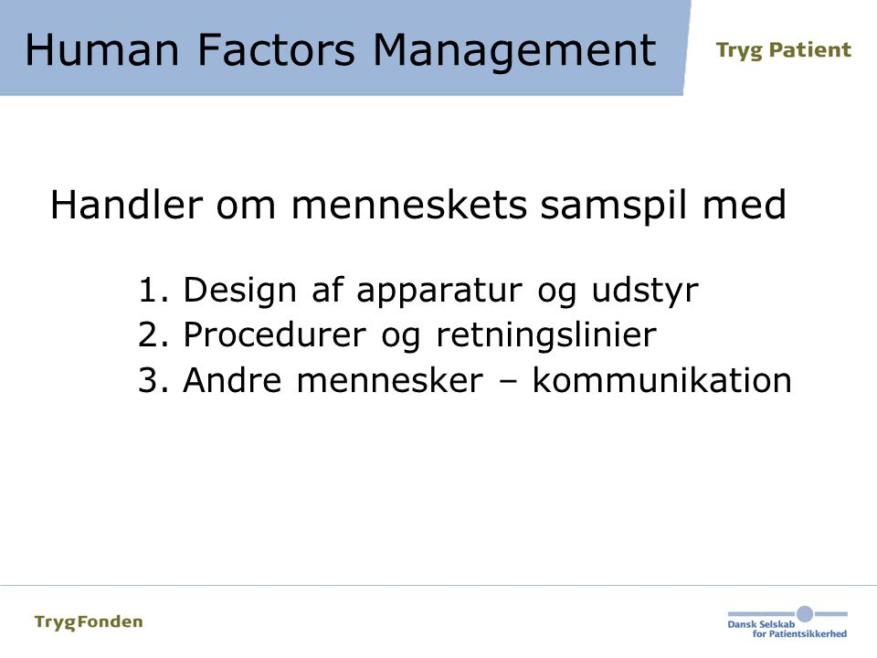 Human Factors Management
