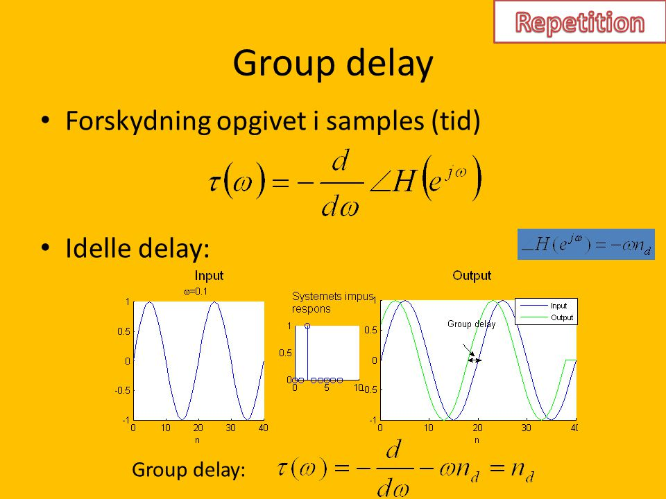 Group delay Repetition Forskydning opgivet i samples (tid)