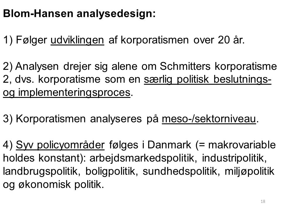 Blom-Hansen analysedesign: