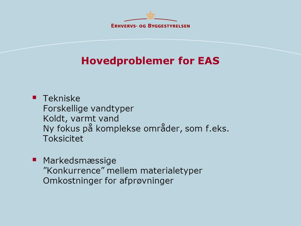 Hovedproblemer for EAS