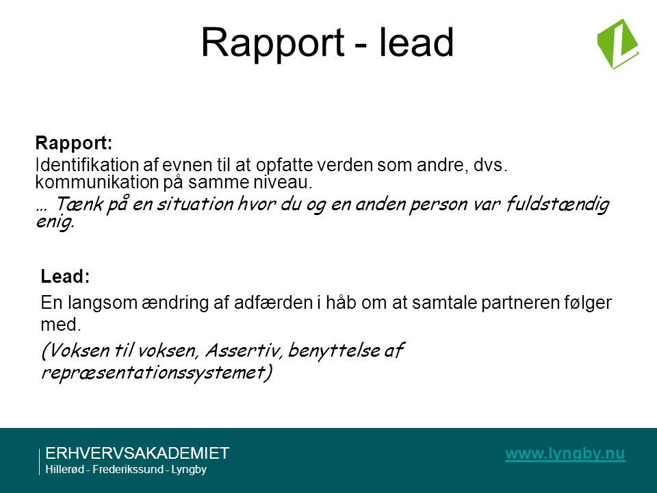 Rapport - lead Rapport: