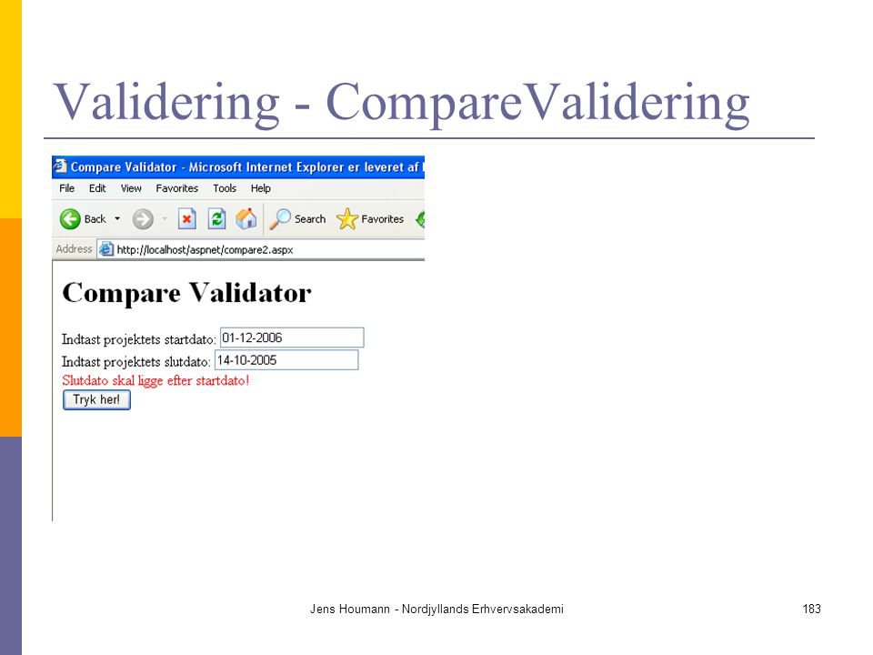 Validering - CompareValidering
